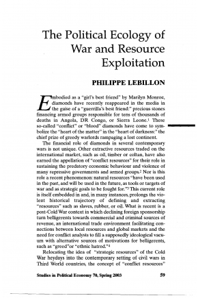 The Political Ecology of War: Natural Resources and Armed Conflicts