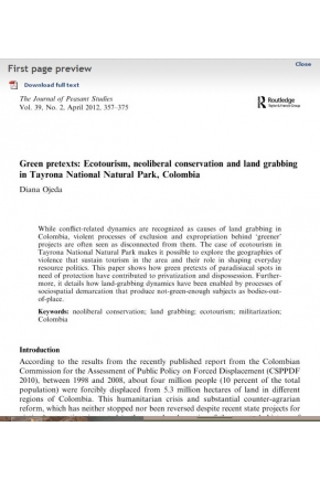 Green Pretexts: Ecotourism, Neoliberal Conservation and Land Grabbing in Tayrona National Natural Park, Colombia