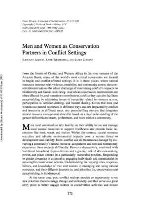 Men and Women as Conservation Partners in Conflict Settings