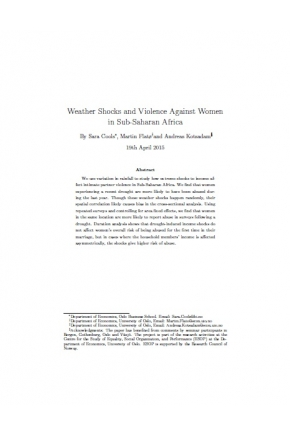 Weather Shocks and Violence against Women in Sub-Saharan Africa