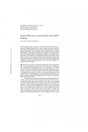 Natural Resources and Gender in Conflict Settings