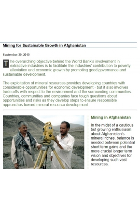 Mining for Sustainable Growth in Afghanistan