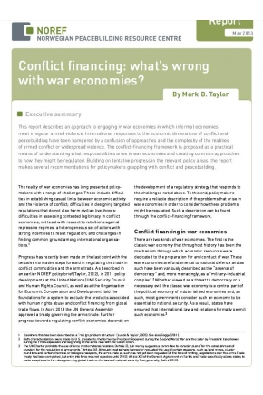 Conflict Financing: What's Wrong with War Economies?