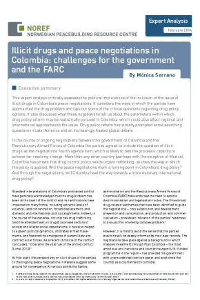 Illicit Drugs and Peace Negotiations in Colombia: Challenges for the Government and the FARC