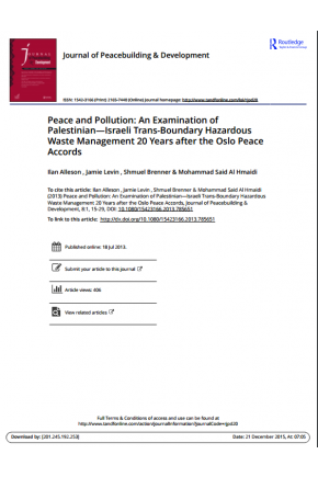 Peace and Pollution: An Examination of Palestinian—Israeli Trans-Boundary Hazardous Waste Management 20 Years after the Oslo Peace Accords