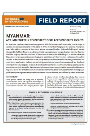 Myanmar: Act Immediately to Protect Displaced People's Rights