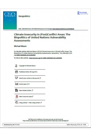 Climate Insecurity in (Post)Conflict Areas: The Biopolitics of United Nations Vulnerability Assessments