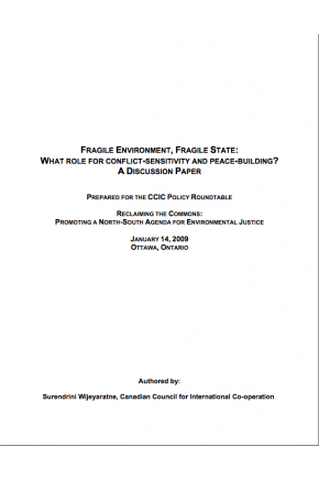 Fragile Environment, Fragile State: What Role for Conflict-Sensitivity and Peace-Building?