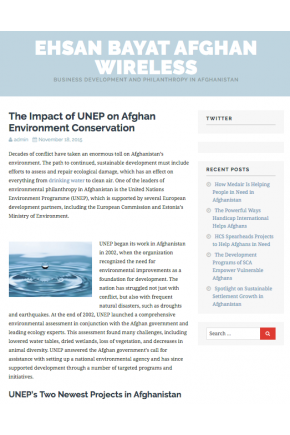The Impact of UNEP on Afghan Environment Conservation