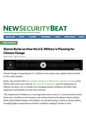 Sharon Burke on How the U.S. Military is Planning for Climate Change [Audio]