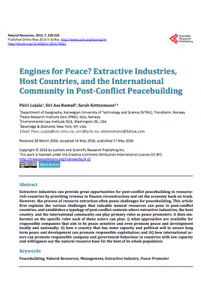 Engines for Peace? Extractive Industries, Host Countries, and the International Community in Post-Conflict Peacebuilding