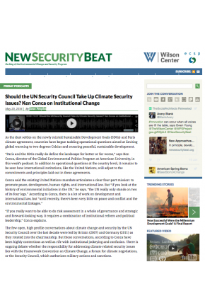 Should the UN Security Council Take Up Climate Security Issues? Ken Conca on Institutional Change [Audio]