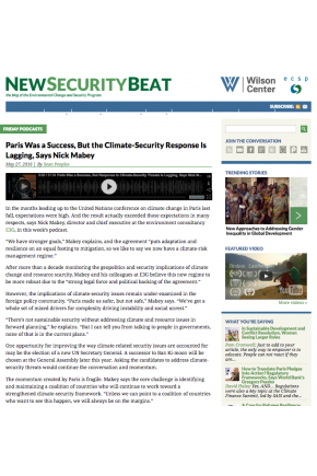 Paris Was a Success, but the Climate-Security Response is Lagging, Says Nick Mabey [Audio]