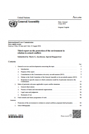 Third Report on the Protection of the Environment in Relation to Armed Conflicts