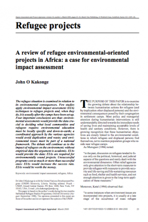 A Review of Refugee Environmental-Oriented Projects in Africa: A Case for Environmental Impact Assessment