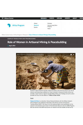 Role of Women in Artisanal Mining & Peacebuilding [Video]