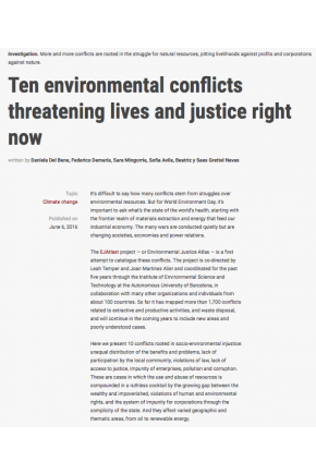 Ten Environmental Conflicts Threatening Lives and Justice Right Now