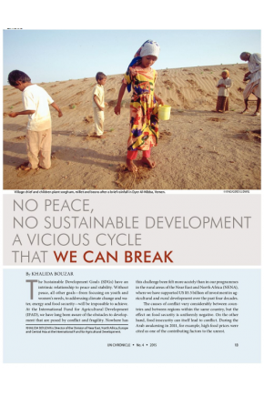 No Peace, No Sustainable Development: A Vicious Cycle that We Can Break