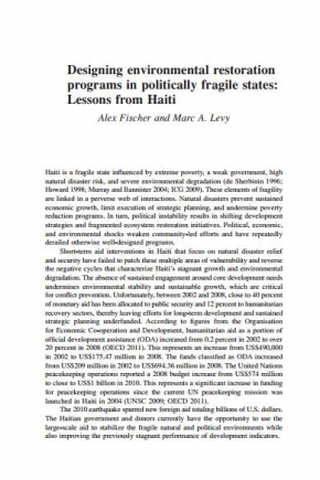 Designing Environmental Restoration  Programs in Politically Fragile States:  Lessons from Haiti