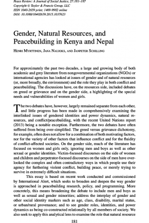 Gender, Natural Resources, and Peacebuilding in Kenya and Nepal