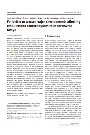 For Better or Worse: Major Developments Affecting Resource and Conflict Dynamics in Northwest Kenya
