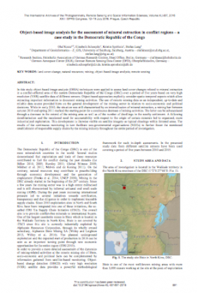 Object-Based Image Analysis for the Assessment of Mineral Extraction in Conflict Regions – A Case Study in the Democratic Republic of the Congo