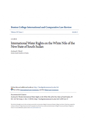International Water Rights on the White Nile of the New State of South Sudan