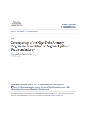 Consequences of the Niger Delta Amnesty Implementation on Nigeria's Upstream Petroleum Industry
