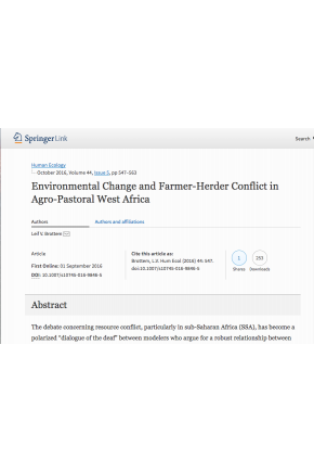 Environmental Change and Farmer-Herder Conflict in Agro-Pastoral West Africa