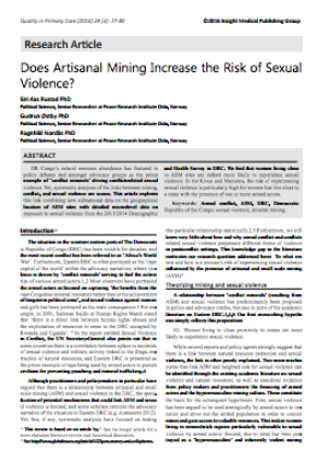 Does Artisanal Mining Increase the Risk of Sexual Violence? Micro-Level Evidence from Eastern Congo