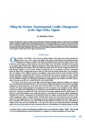 Oiling the Friction: Environmental Conflict Management in the Niger Delta, Nigeria