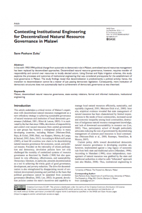 Contesting Institutional Engineering for Decentralized Natural Resource Governance in Malawi