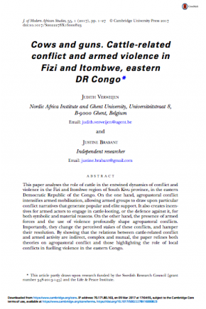 Cows and Guns: Cattle-Related Conflict and Armed Violence in Fizi and Itombwe, Eastern DRC
