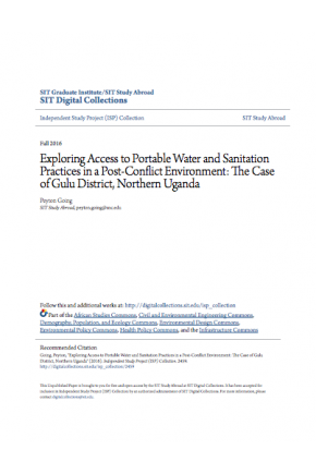 Exploring Access to Portable Water and Sanitation Practices in a Post-Conflict Environment: The Case of Gulu District, Northern Uganda