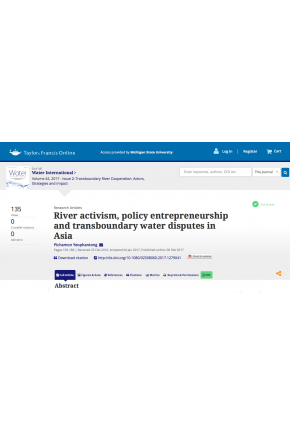 River Activism, Policy Entrepreneurship and Transboundary Water Disputes in Asia