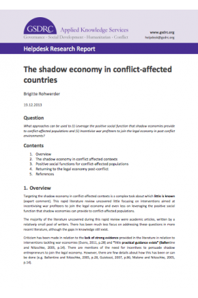 The Shadow Economy in Conflict-Affected Countries