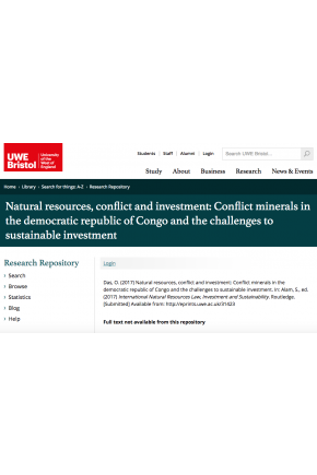 Natural Resources, Conflict and Investment: Conflict Minerals in the Democratic Republic of Congo and the Challenges to Sustainable Investment