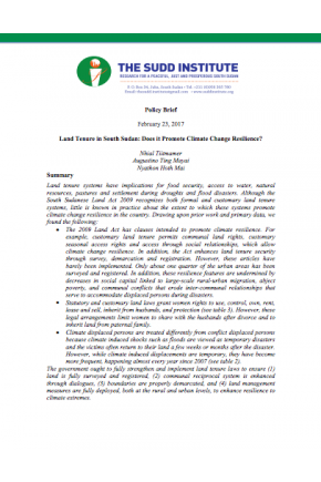 Land Tenure in South Sudan: Does It Promote Climate Change Resilience?
