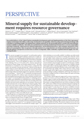 Mineral Supply for Sustainable Development Requires Resource Governance