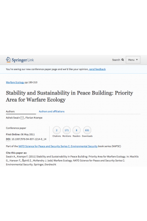 Stability and Sustainability in Peace Building: Priority Area for Warfare Ecology