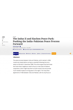 The Indus II and Siachen Peace Park: Pushing the India–Pakistan Peace Process Forward