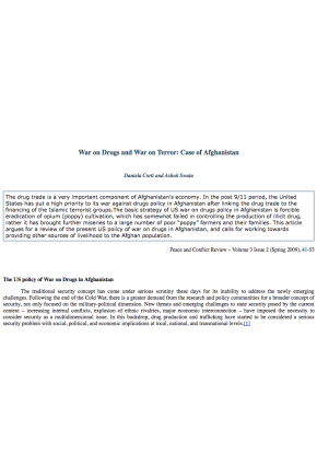War on Drugs and War on Terror: Case of Afghanistan