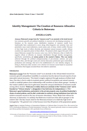 Identity Management: The Creation of Resource Allocative Criteria in Botswana