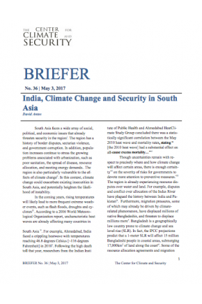 India, Climate Change and Security in South Asia