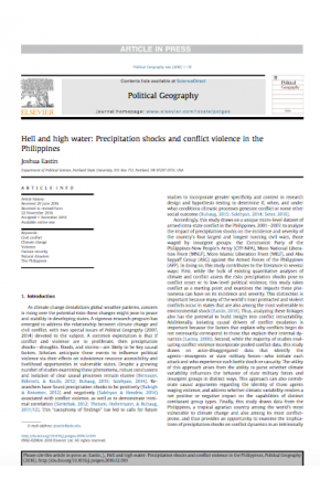 Hell and High Water: Precipitation Shocks and Conflict Violence in the Philippines