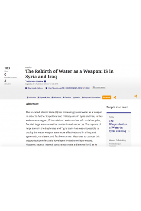 The Rebirth of Water as a Weapon: IS in Syria and Iraq