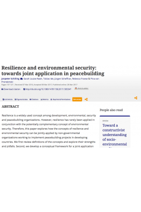 Resilience and Environmental Security: Towards Joint Application in Peacebuilding