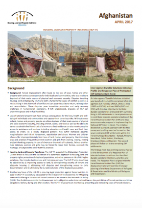 Housing, Land and Property Factsheet (April 2017)-Afghanistan
