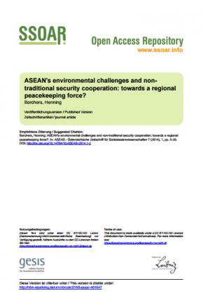 ASEAN's Environmental Challenges and Non-Traditional Security Cooperation: Towards a Regional Peacekeeping Force?