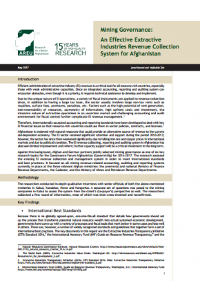 Mining Governance: An Effective Extractive Industries Revenue Collection System for Afghanistan